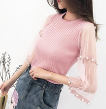 Load image into Gallery viewer, Dingaozlz pullover beading women tops sweater elegant female lace stitching casual shirt sweater korean 2018 new