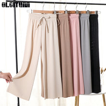 Load image into Gallery viewer, Women Summer Soft Silk Knit Wide Leg Pants Khaki Loose Ankle Length Pants Casual Elastic Waist High Waist Straight Trousers