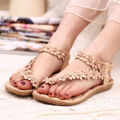 Bohemia Flowers Strappy Shape Sandals