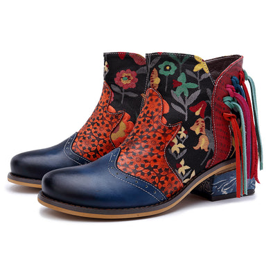 【PRESALE】Leather Printed Tassel Casual Fashion Cowboy Boots