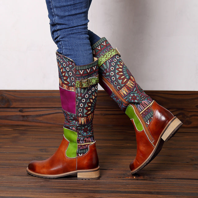 Retro Leather Splicing Pattern High Tube Boots - coolbuyshopstore