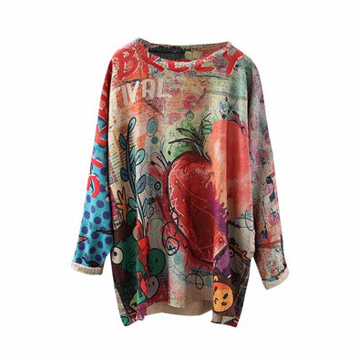 Retro Knitting O-Neck Print Pattern Loose Pullovers Tops