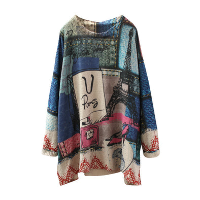 Retro Loose Print Pattern Blended Sweater