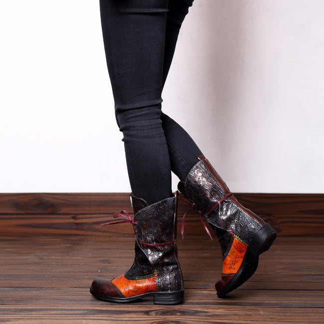 Vintage Retro Stitching Craft Comfortable Mid Calf Boots - coolbuyshopstore