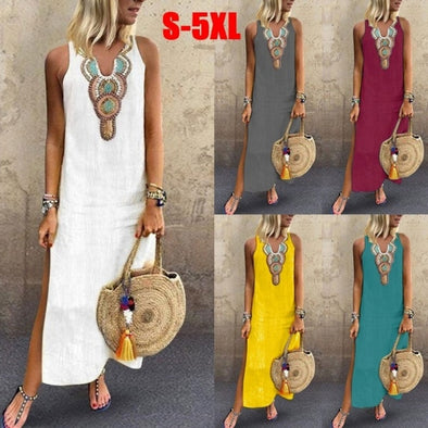 Bohemian V-neck Printing Split Maxi Dress
