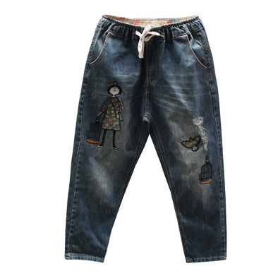 Embroidery Cartoon Character Pants Jeans