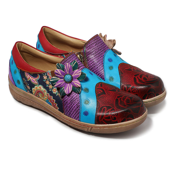 Retro Women Bohemian Printing Flower Contrast Color Sandals Shoes