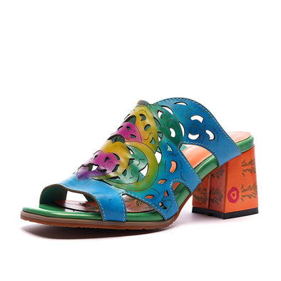 Printed Wedge Fish Mouth Sandals