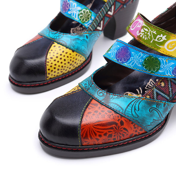 Handmade Leather Printed Soft Shoes