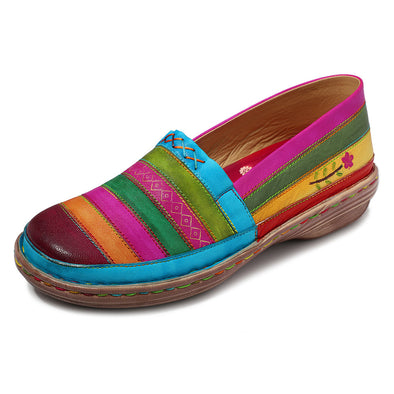 Leather Handmade Rainbow Super Soft Flats