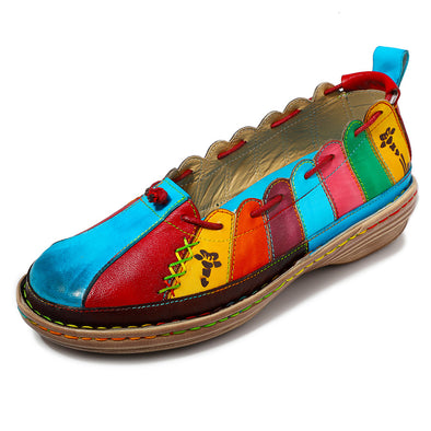 Leather Handmade Multi-color Soft Flats