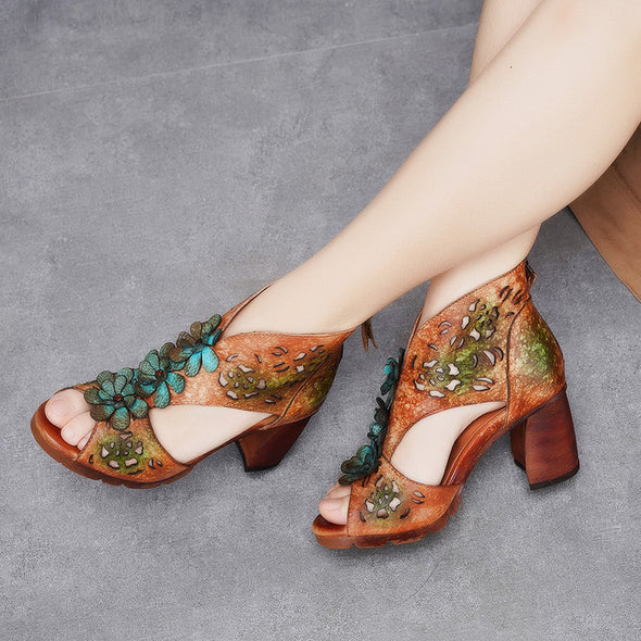 Fashion Flower Pattern Retro Leather Sandals