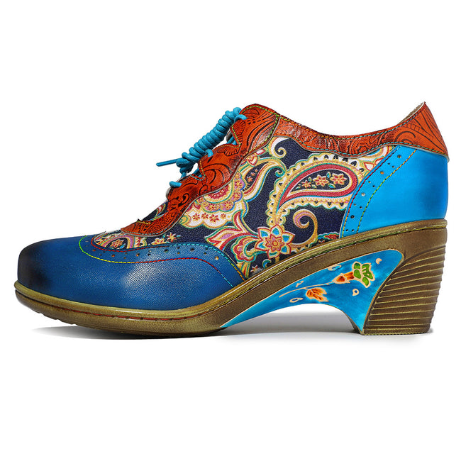 Bohemian Flower Painted Brogue Shoes - coolbuyshopstore
