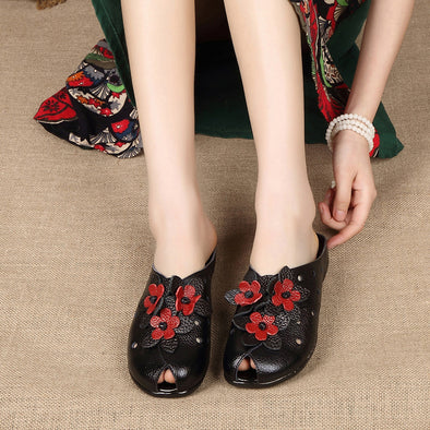 Vintage Ethnic Style Flower Women's Shoes