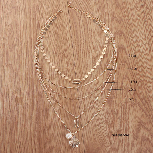 Shell Pearl Scallop Combination Necklace