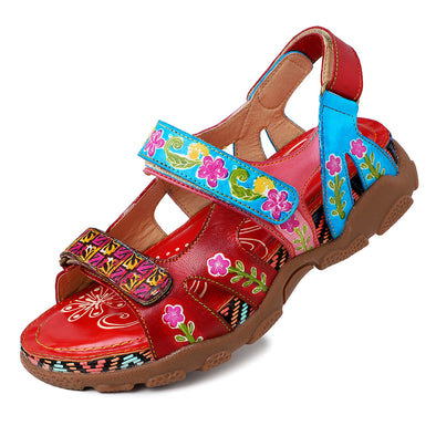 【EU36】Velcro Handmade Flower Soft Sports Sandals