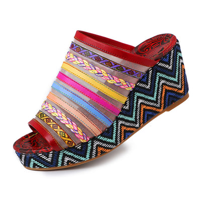 Handmade Color Striped Leather Comfortable Thick-Soled Wedge Sandals