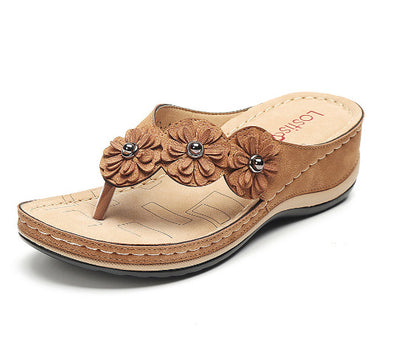 Handmade Vintage Flowers Female Sandals Flip-flops