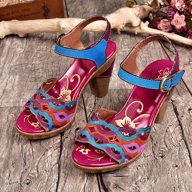 Fish Mouth High Heel Leather Printed Wedge Sandals-purple - coolbuyshopstore