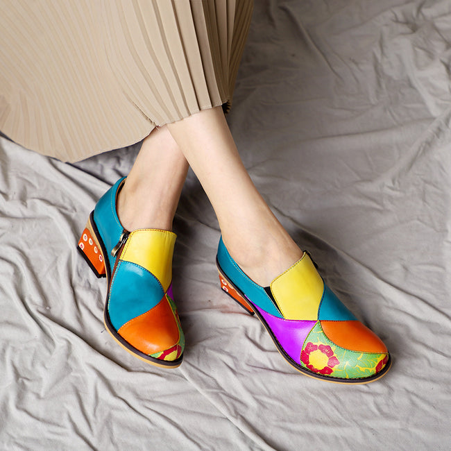 Casual Colorful Genuine Leather Shoes - coolbuyshopstore