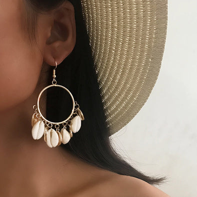 Vintage Shell Big Ring Earrings
