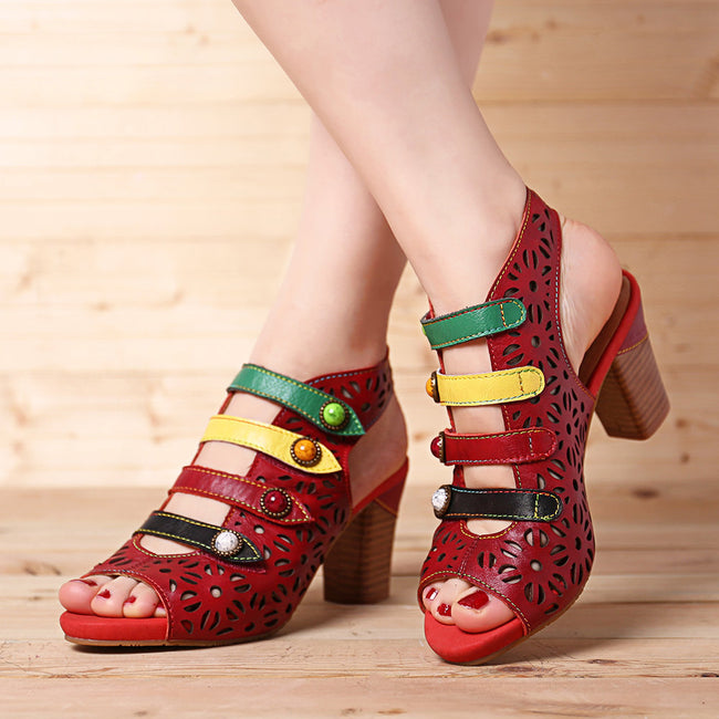 Velcro Handmade Colorful Striped Soft Sandals - coolbuyshopstore