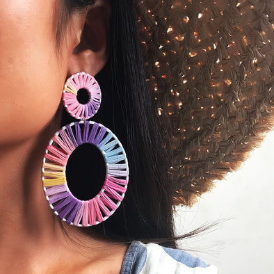 Oval Hand-woven Raffia Earrings