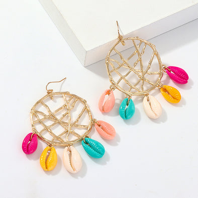 Fashion Dream Catcher Multicolor Shell Earrings