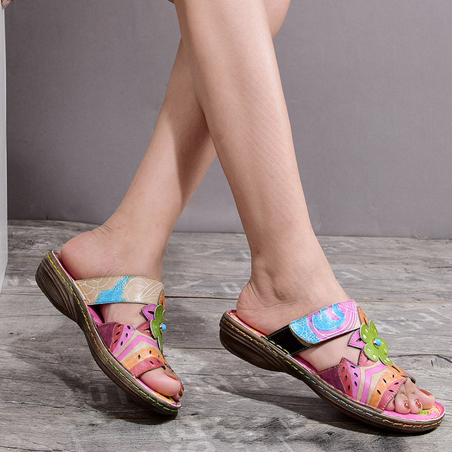 Bohemian Leather Printing Forest Adjustable Hook Loop Fastener Sandals-Shoes-coolbuyshopstore
