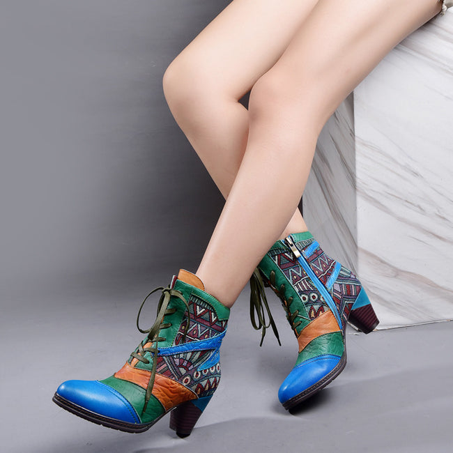 __U 41__andmade Leather Stitching Fashion Boots - coolbuyshopstore