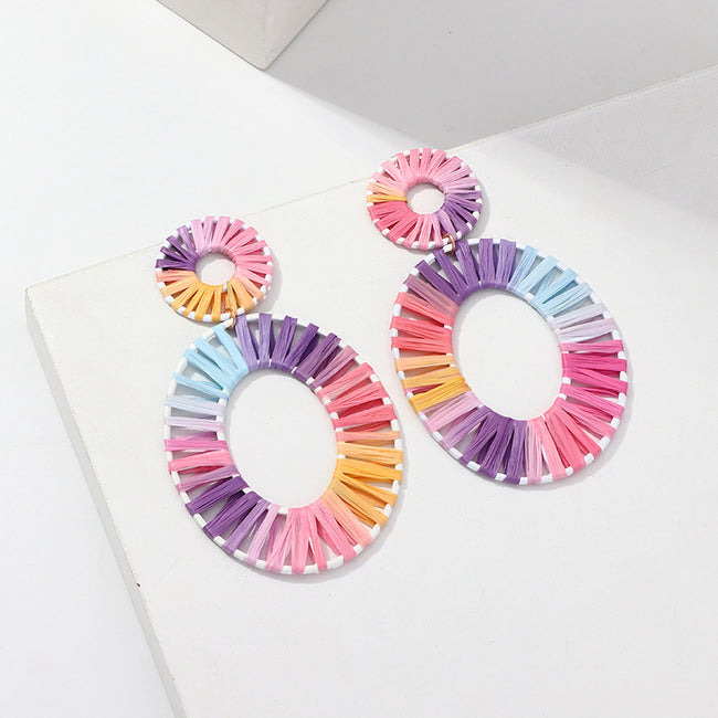 Oval Hand-woven Raffia Earrings - coolbuyshopstore