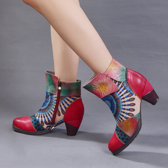 【LIMITED】Retro Pattern Zipper Chunky Heel Leather Booties