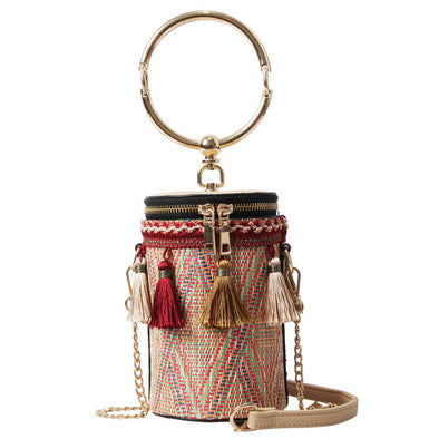 Fringed Bucket Bag Ethnic Style Mini Handbag