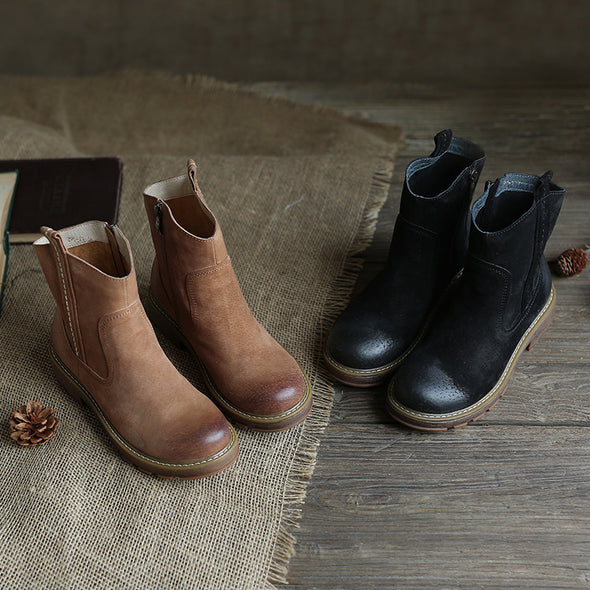 【LIMITED】Vintage Leather Mid-heel Booties