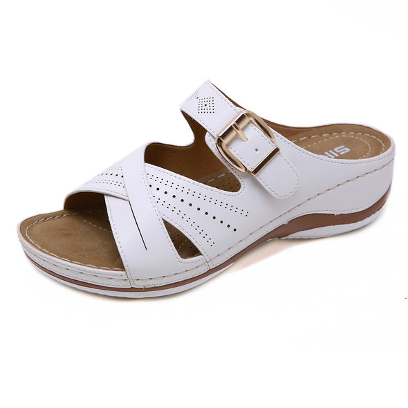 Women Summer Open Toe Hook Loop Comfy Sandals Casual Wedges Non-Slip Slippers