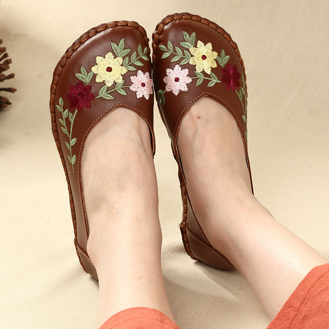 Spring Autumn New Embroidered Leather Flower Shoes - coolbuyshopstore