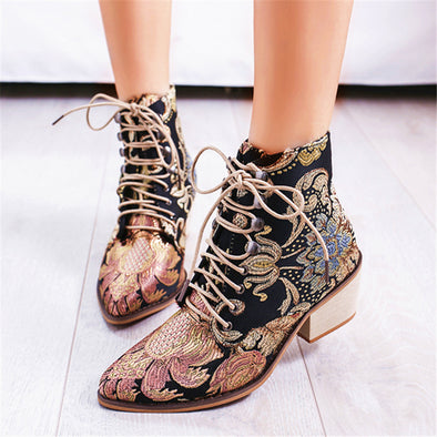 Retro Flower Pattern High Heel Ankle Boots