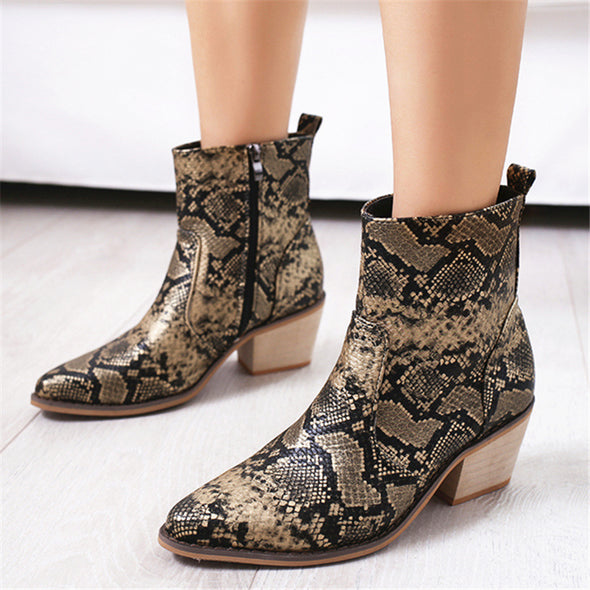 Pointed Zipper Women's Ankle Boots