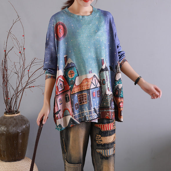 Retro Loose Print Pattern Blended Sweater-2