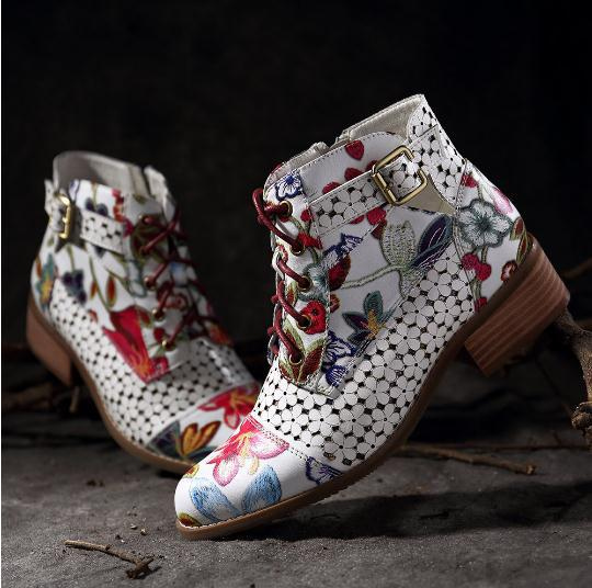 Flower Pattern Side Zipper Lace Up Ankle Boots - coolbuyshopstore
