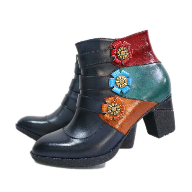 Mixed Color Genuine Leather  Side Zipper Handmade Retro Boots - coolbuyshopstore