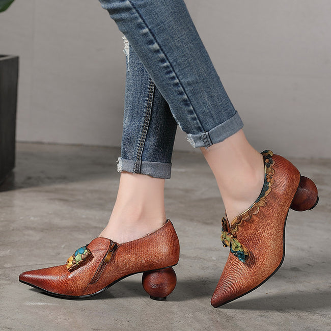 Vintage Pointed Genuine Leather Fashion Shoes - coolbuyshopstore