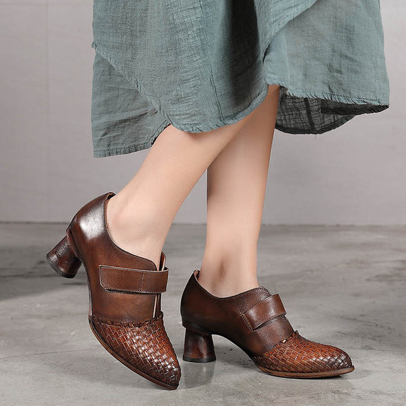 Retro Style Genuine Leather Thick Heel Shoes
