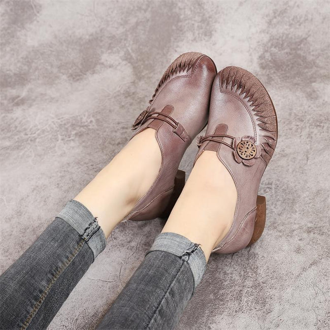 Vintage Style Leather Women's Elastic Buckle Leather Shoes - coolbuyshopstore