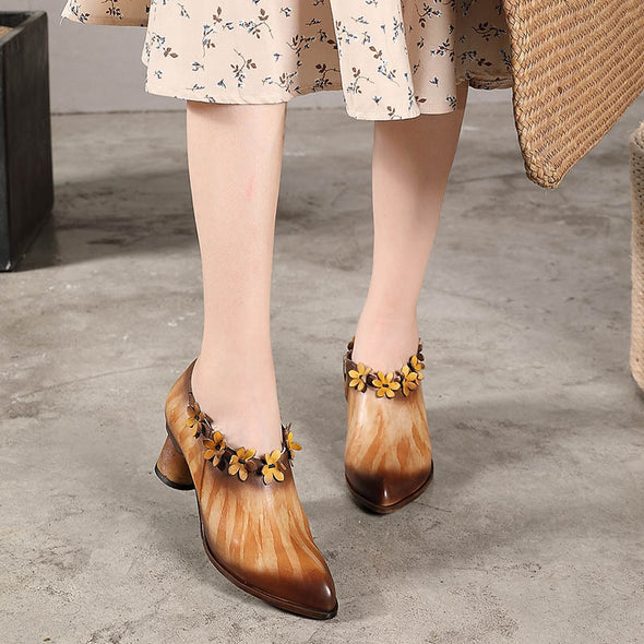 Retro Pointed Genuine Leather Flower Shoes