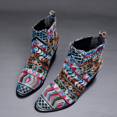 Bohemia Weave Pattern Cloth Slip On Elastic Band Soft Ankle Boots