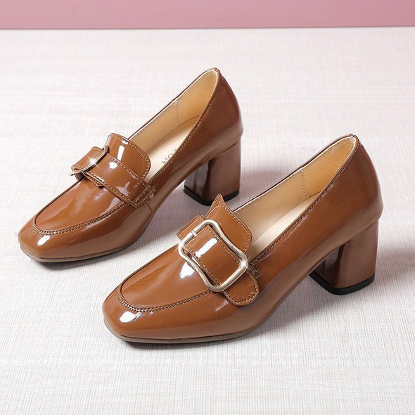 Fashion Square Head Female New Autumn Leather Shoes