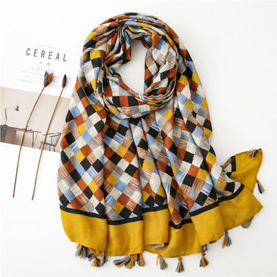 Small Plaid Cotton Linen Scarf