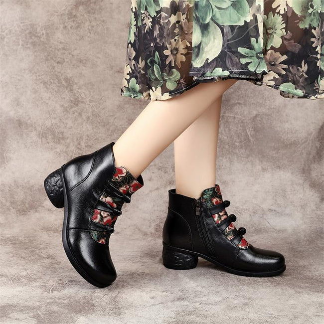 Leather Bowknot Ankle Boots - coolbuyshopstore