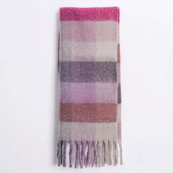 Colorful Plaid Tassel Scarf